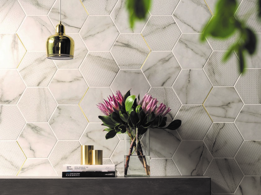 carrelage hexagonal imitation marbre