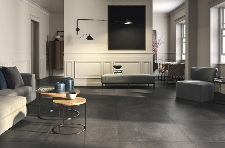 Carreaux gris grand format pour salon